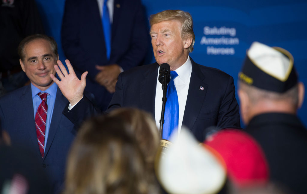 President Donald Trump speaks to military veterans during a visit to AMVETS Post 44 in Struthers, Ohio on July 25, 2017. (SAUL LOEB/AFP/Getty Images)