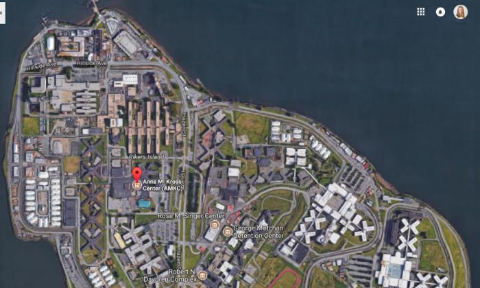 A pin showing the Anna M. Kross Center Jail on Rikers Island. (Screenshot via Google Maps)