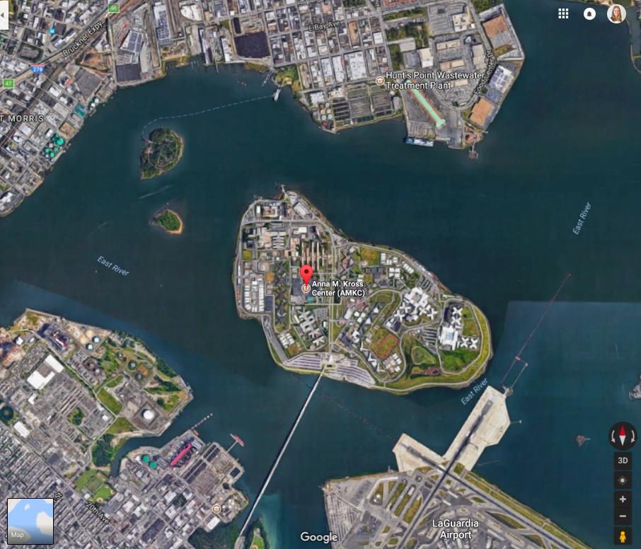 A map of Rikers Island jail with a pin at Anna M. Kross Center Jail. (Screenshot via Google Maps)