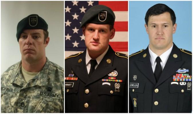 (L-R) Staff Sgt. Kevin J. McEnroe, Staff Sgt. James F. Moriarty, Staff Sgt. Matthew C. Lewellen. (U.S. Army)