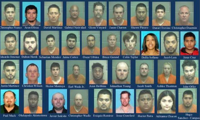 Pictures of the 37 arrested in an anti-human trafficking operation in Midland, Tx. (Texas Department of Public Safety)