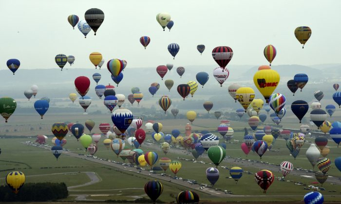 Hot-air balloons at the Mondial Air Ballons event at Chambley-Bussieres airbase, France, on July 28, 2017. (Alexandre Marchi/AFP/Getty Images)