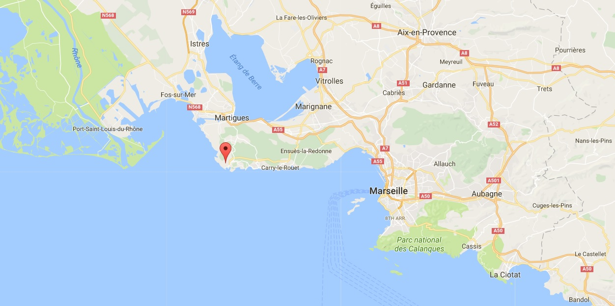 A pin showing Carro, a town west of Marseille.  (Screenshot via Google Maps)