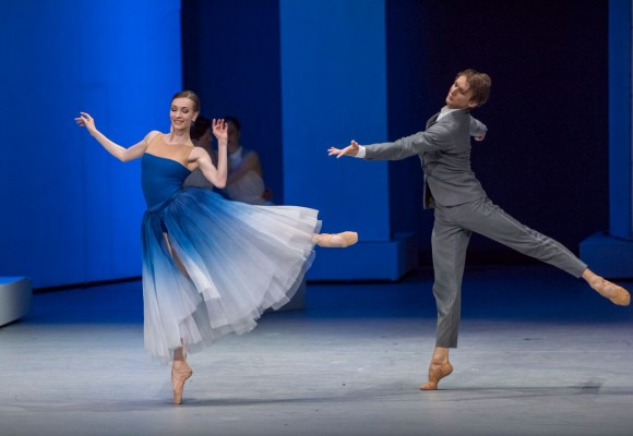 Bianca (here played by Olga Smirnova) chooses Lucentio (here played by Semyon Chudin) from among her many suitors. (Stephanie Berger)