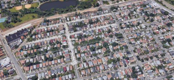 Aerial rendering of area near Springfield Gardens, Queens, New York. (Google Maps)