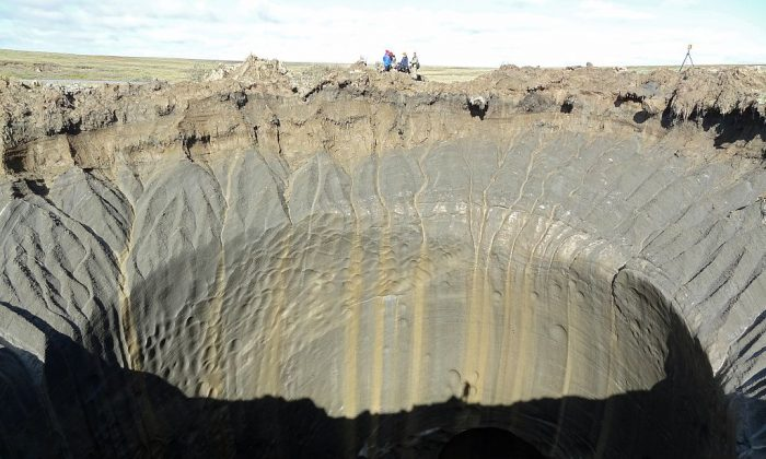 A general view shows a crater on the Yamal Peninsula, northern Siberia. (VASILY BOGOYAVLENSKY/AFP/Getty Images)