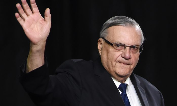 Sheriff Joe Arpaio attends a rally by Republican presidential candidate Donald Trump, Oct. 4, 2016, in Prescott Valley, Arizona. (ROBYN BECK/AFP/Getty Images)