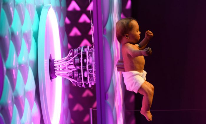 An animatronic baby is displayed during the press preview for the 'Robots' exhibition at the Science Museum on February 7, 2017 in London, England. (Photo by Carl Court/Getty Images)