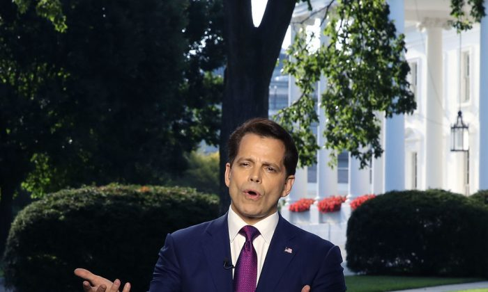 Former White House Communications Director Anthony Scaramucci speaks on a morning television show, from the north lawn of the White House on July 26, 2017 in Washington, DC.  (Mark Wilson/Getty Images)
