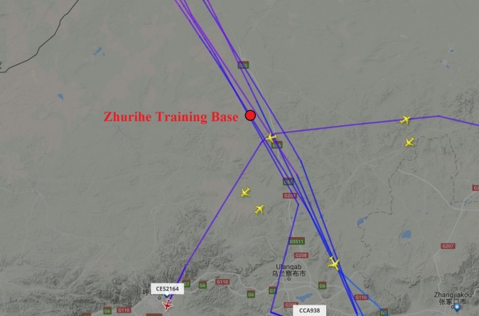 Many commercial airliners were recorded as having flown in the air space above the Zhurihe base where the Chinese regime supposedly held a massive military parade on Sunday morning that was broadcast