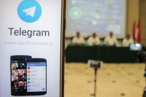 A picture of encrypted messaging service Telegram is seen during a news conference after Indonesian authorities blocked access to some Telegram channels in Jakarta, Indonesia, July 17, 2017 this photo taken by Antara Foto. Picutre taken July 17, 2017. (Antara Foto/Muhammad Adimaja  via Reuters)