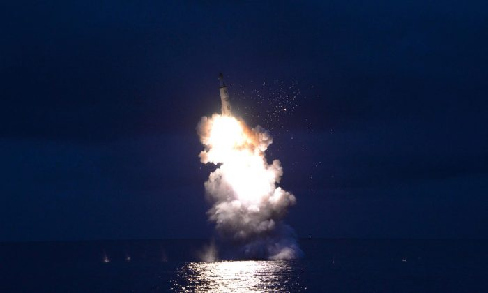 This undated picture released from North Korea's official Korean Central News Agency (KCNA) on August 25, 2016 shows a test-fire of strategic submarine-launched ballistic missile being launched at an undisclosed location. (KNS/AFP/Getty Images)
