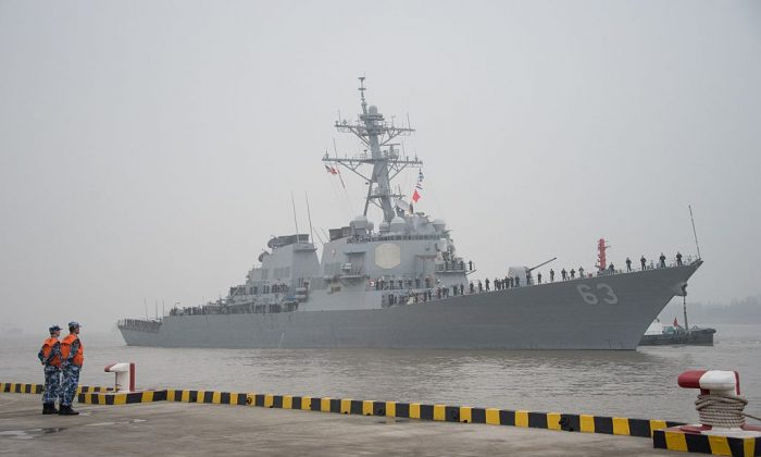 The guided missile destroyer USS Stethem (DDG 63) arrives at the Wusong military port in Shanghai on November 16, 2015. (JOHANNES EISELE/AFP/Getty Images)
