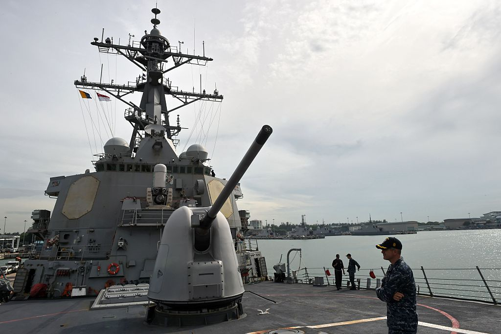 A MK45 lightweight gun is seen on the deck of USS Stethem (DDG-63) missile destroyer docked at Changi Naval Base for the Cooperation Afloat Readiness and Training (CARAT) bilateral exercise in Singapore on July 19, 2016. (ROSLAN RAHMAN/AFP/Getty Images)