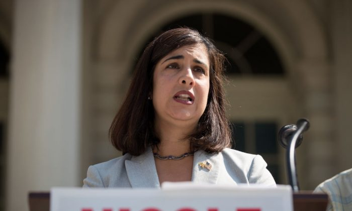 Then-mayoral candidate Nicole Malliotakis, a Republican speaks during a press conference outside City Hall, July 19, 2017 in New York City. (Drew Angerer/Getty Images)