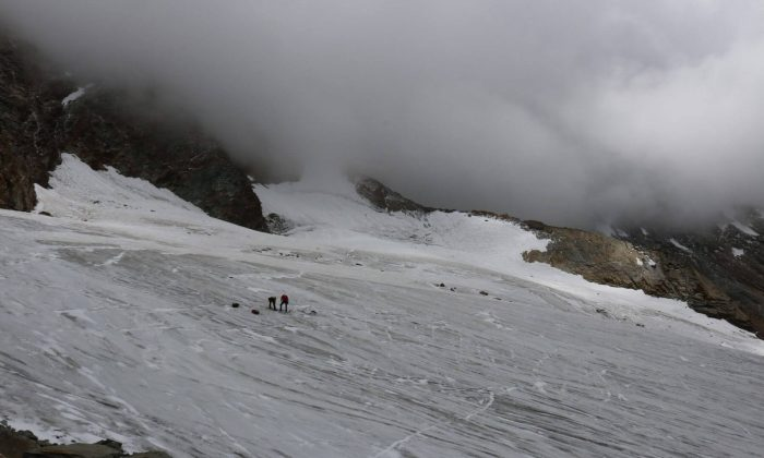 The location where the remains of a German was found on Hohlaub Glacier, near Saas Fee, Switzerland. (Police of Canton Webpage)