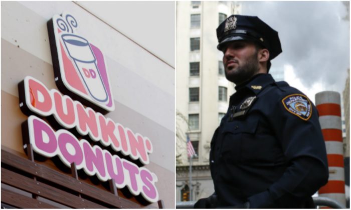 NYPD officer, not related to story. (KENA BETANCUR/AFP/Getty Images) Dunkin' Donuts logo. (Tommaso Boddi/Getty Images)