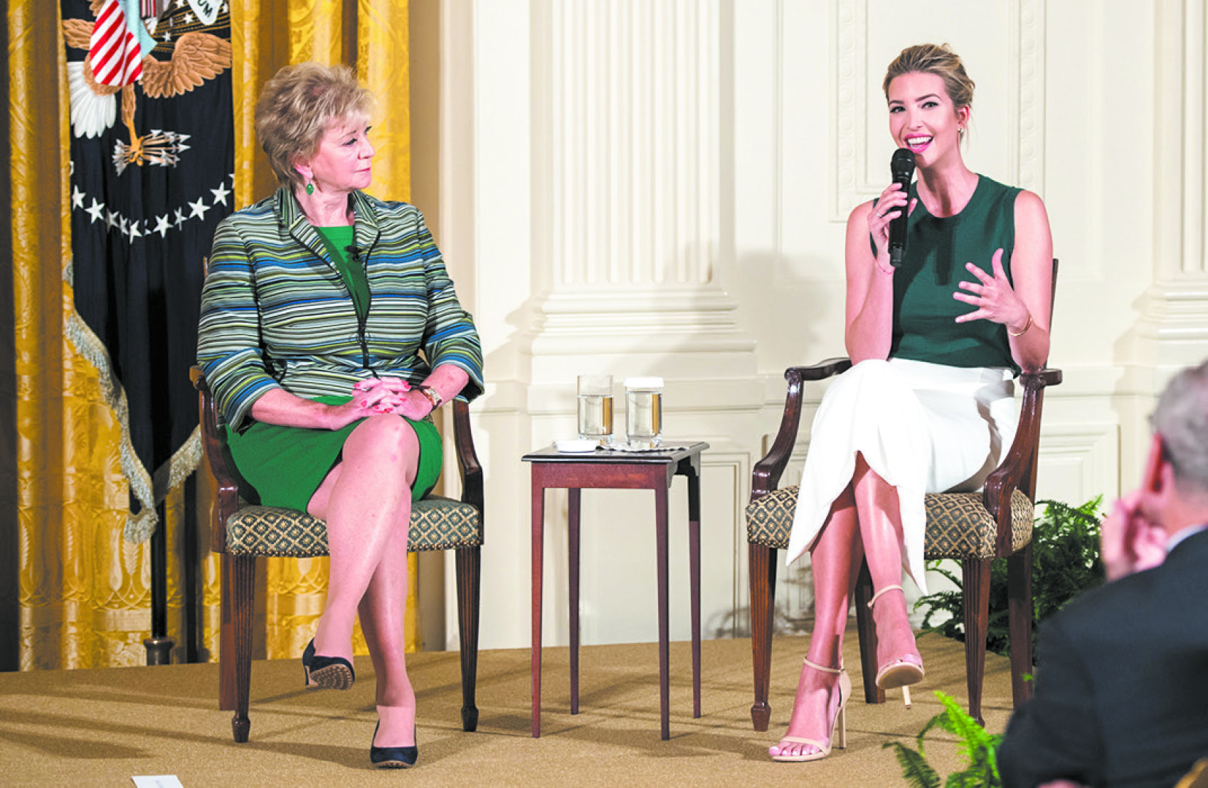 Ivanka Trump and Small Business Administrator Linda McMahon (L) participate in a small business event at the White House on Aug. 1.  (THE WHITE HOUSE)