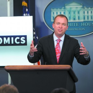 Mick Mulvaney, director of the Office of Management and Budget, during a press briefing at the White House on July 20. (SAUL LOEB/AFP/GETTY IMAGES)