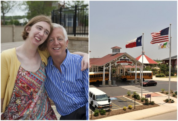 L: Gordon Hartman with his daughter Morgan; R: Entrance of the Morgan's Wonderland theme park. (Morgan's Wonderland)