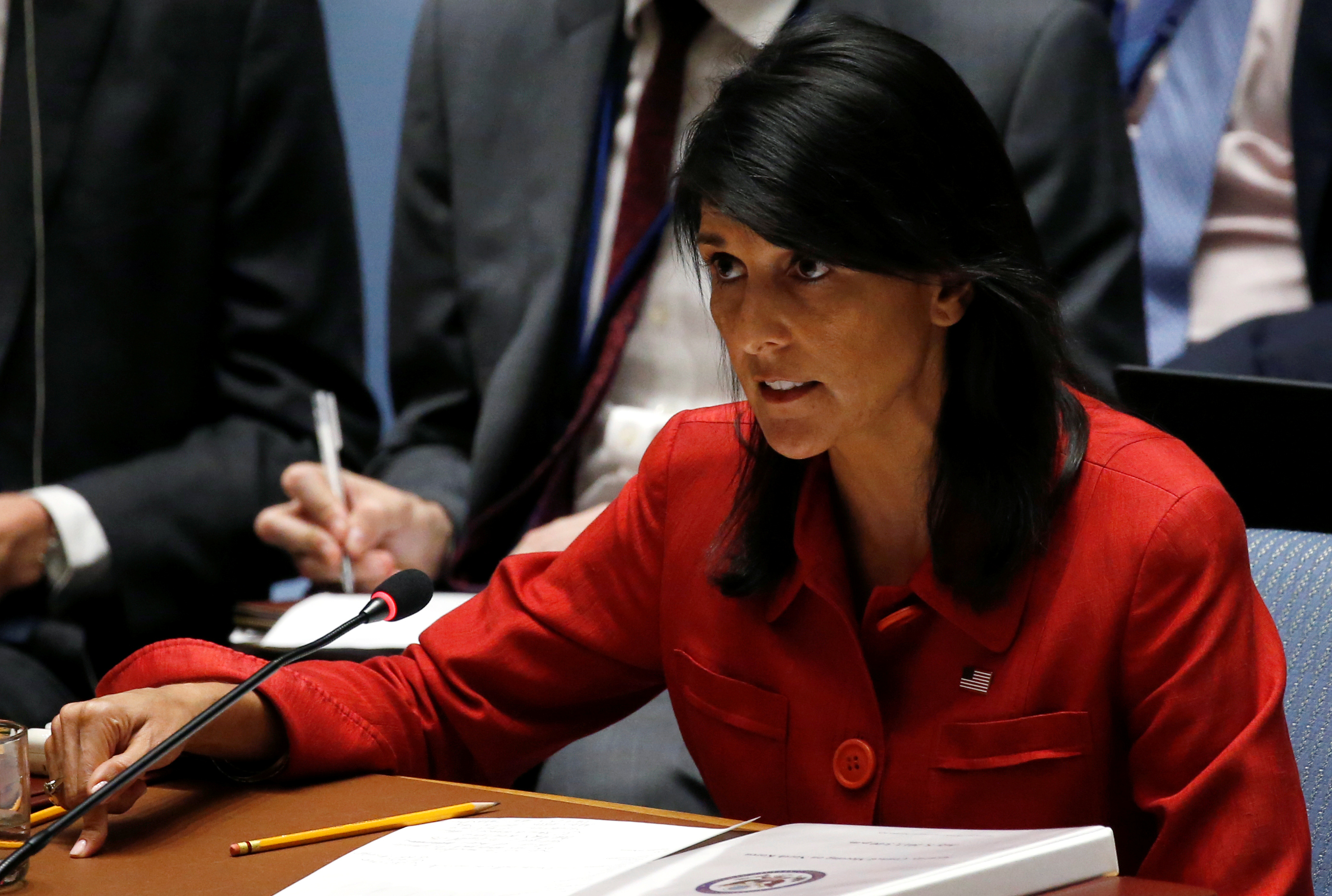 U.S. Ambassador to the United Nations Nikki Haley directs comments to the Russian delegation at the conclusion of a U.N. Security Council meeting to discuss the recent ballistic missile launch by North Korea at U.N. headquarters in New York on July 5, 2017. (REUTERS/Mike Segar)