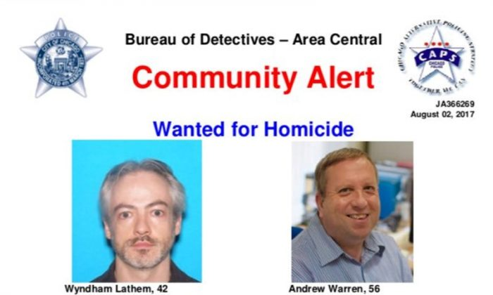A wanted poster distributed by the Chicago Police Department shows suspects Wyndham Lathem, 42, an associate professor of microbiology and immunology, and Andrew Warren, 56, a financial employee at Britain's Oxford University, in this image released in Chicago, Illinois, U.S. on August 3, 2017. (Courtesy Chicago Police Department/Handout via Reuters)