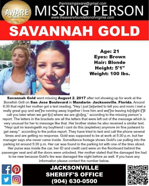 A missing persons poster details the circumstances of Savannah Gold's disappearance. (Aware Foundation)
