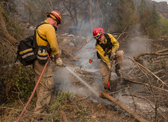 Firefighters extinguish hotpots after a wildfire, part of the Okanogan Complex, swept through the area on August 22, 2015 near Okanogan, Washington. The Okanogan Complex fires have burned more than 127,000 acres. (Stephen Brashear/Getty Images)