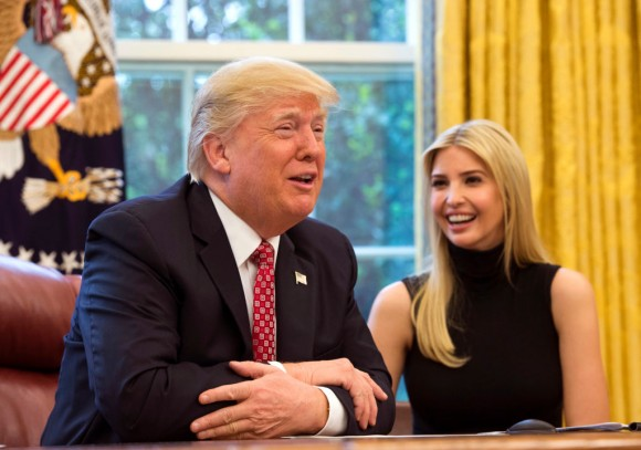 U.S. President Donald Trump speaks along with his daughter Ivanka Trump (R) in the Oval Office at the White House April 24, 2017 in Washington, DC. (Molly Riley-Pool/Getty Images)