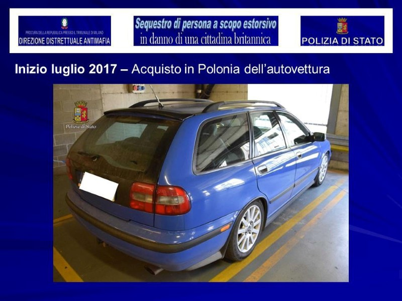 A vehicle used in the kidnapping of a British model is seen in this August 5, 2017 handout picture provided by the Italian Police in Milan, Italy. (Polizia Di Stato/Handout via REUTERS)