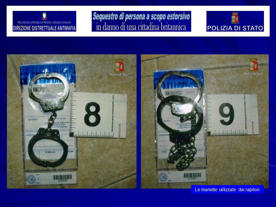 Handcuffs used to keep a kidnapped British model prisoner is seen in this August 5, 2017 handout picture provided by the Italian Police in Milan, Italy. (Polizia Di Stato/Handout via REUTERS)