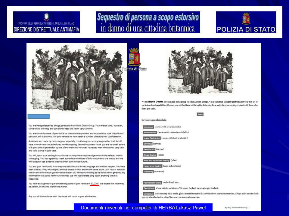 "A screenshot of a ""Black Death Group"" document on a laptop belonging to Lukasz Pawel Herba, the suspected kidnapper of a British model, is seen in this August 5, 2017 handout picture provided by the Italian Police in Milan. (Polizia Di Stato/Handout via REUTERS)"