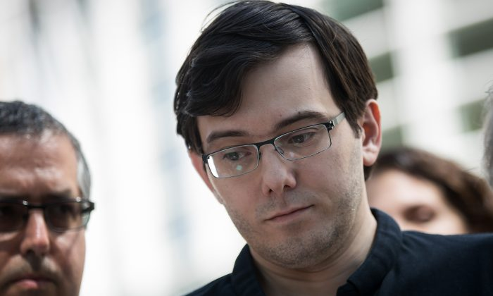 Former pharmaceutical executive Martin Shkreli pauses while speaking to the press after the jury issued a verdict in his case at the U.S. District Court for the Eastern District of New York in the Brooklyn borough of New York City on Aug. 4, 2017. (Drew Angerer/Getty Images)