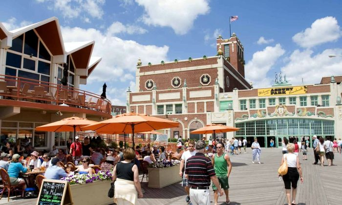 The Asbury Park boardwalk, with the Salt Water Cafe on the left and Convention Hall on the right. (Asbury Park Boardwalk)