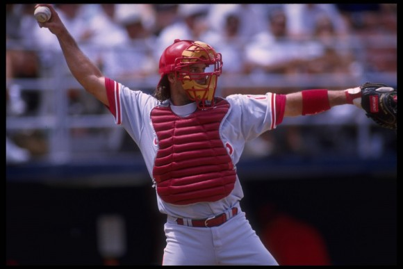 7 Jun 1995: Catcher Darren Daulton of the Philadelphia Phillies throws infield for an out against the San Diego Padres at Jack Murphy Stadium in San Diego, California.