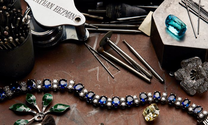 Examples of Oscar Heyman jewelry on a worktable. (Oscar Heyman)