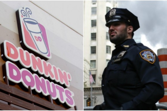Dunkin' Donuts logo. (Tommaso Boddi/Getty Images) NYPD officer, not related to story. (KENA BETANCUR/AFP/Getty Images)