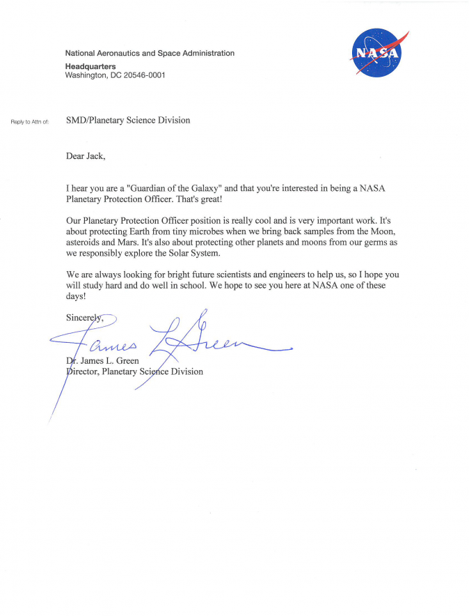 A reply from NASA to Jack Davies letter. (NASA)