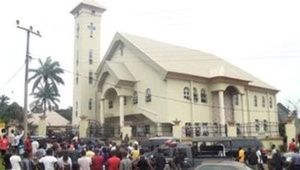 A still image taken from a video uploaded by CHANNELS TV on August 6, 2017, shows St. Philips Catholic Church in Anambra, Nigeria. (CHANNELS TV via Reuters TV)