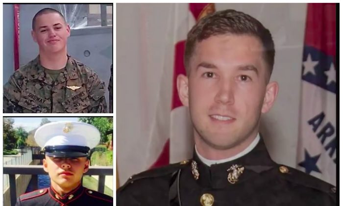 Benjamin Cross (R), Nathaniel Ordway (TL), and Ruben Velasco (BL), the three marines who perished when their MV-22B Osprey crashed into the water on Aug. 5, 2017 off the coast of Australia.