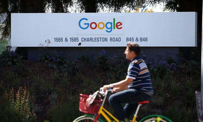The Google logo on a sign outside of the Google headquarters on Sept. 2, 2015 in Mountain View, California.  (Justin Sullivan/Getty Images)
