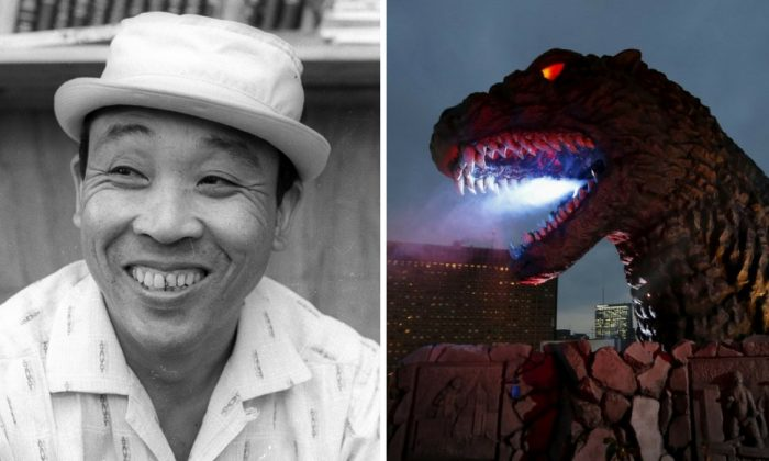 Left: Haruo Nakajima in Tokyo, Japan, May 12, 1966.   Right: A real-scale head of Godzilla during its unveiling at Kabukicho shopping and amusement district in Tokyo April 9, 2015. (L: Reuters/Kyodo; R:  Reuters/Issei Kato/File Photo)