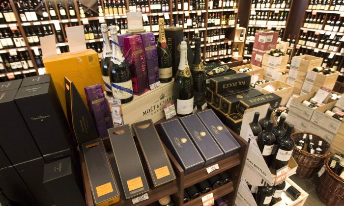 High-end wine and sparkling wine on display at a liquor store in Vancouver. (The Canadian Press/Jonathan Hayward)