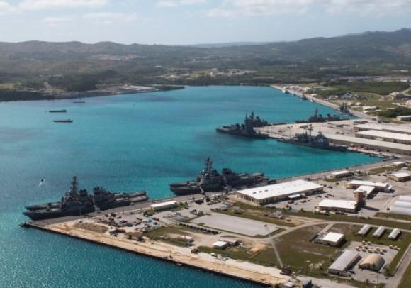 Navy vessels are moored in port at the U.S. Naval Base Guam at Apra Harbor, Guam March 5, 2016. ( Major Jeff Landis,USMC (Ret.)/Naval Base Guam/Handout/File Photo via REUTERS)