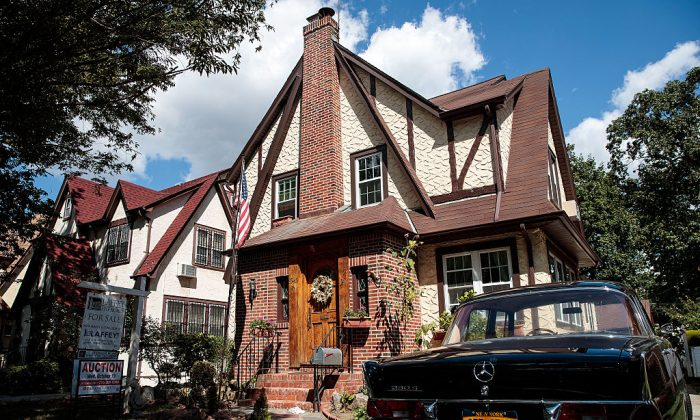 A view of Donald Trump's childhood home in the Jamaica Estates neighborhood in the Queens borough of New York City. (Photo by Drew Angerer/Getty Images)