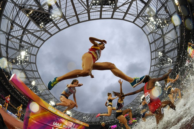 Spain's Irene Sanchez-Escribano competes in the women's 3000m steeplechase at the 2017 IAAF World Championships at the London Stadium in London on Aug. 9, 2017. (KIRILL KUDRYAVTSEV/AFP/Getty Images)