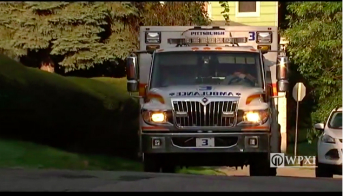 An ambulance at the scene of a raid in Pittsburgh Aug. 9, 2017. (Screenshot via WPXI.com)