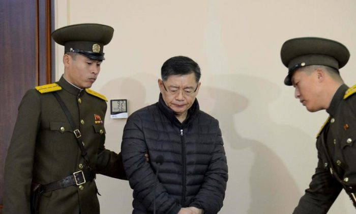 South Korea-born Canadian pastor Hyeon Soo Lim stands during his trial at a North Korean court in this undated photo released by North Korea's Korean Central News Agency (KCNA) in Pyongyang, North Korea on Dec. 16, 2015.   (REUTERS/KCNA)