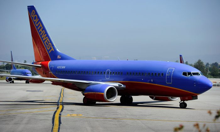 A Southwest Airlines Boeing 737-700 passenger jet taxis on the tarmac after arriving at Los Angeles International Airport on April 5, 2011 in Los Angeles, California. (Kevork Djansezian/Getty Images)