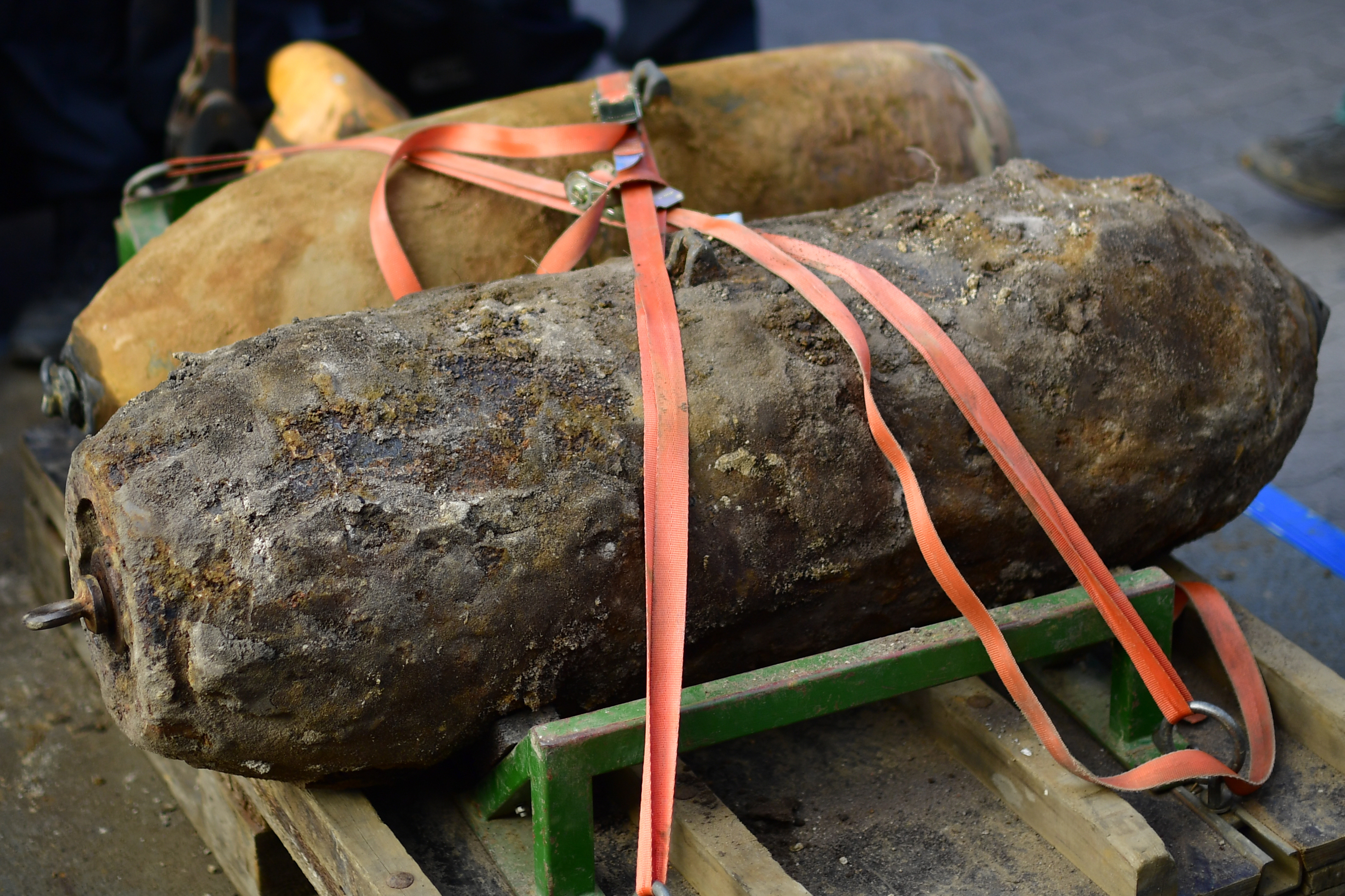Two bombs are showcased after dismantling the bombs on May 7, 2017 in Hanover, Germany. (Alexander Koerner/Getty Images).